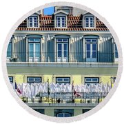 Lisbon Laundry Round Beach Towel by Marion McCristall