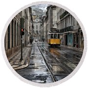 Round Beach Towel featuring the photograph Lisbon Streets by Jorge Maia