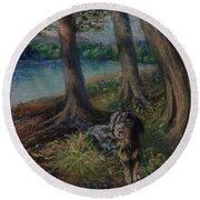 Listening To The Tales Of The Trees Round Beach Towel
