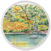 Lithia Park Reflections Round Beach Towel