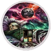 Lithuanian Street Art Round Beach Towel by Shirley Mangini