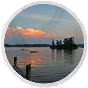Little Bald Lake Round Beach Towel by Barbara McMahon