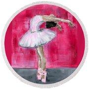 Little Ballerina #2 Round Beach Towel