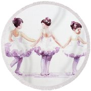 Little Ballerinas-3 Round Beach Towel