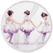 Little Ballerinas-3 Round Beach Towel
