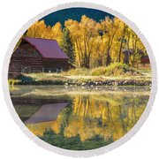 Little Barn By The Lake Round Beach Towel by Teri Virbickis