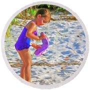 Little Beach Girl With Flip Flops Round Beach Towel