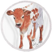 Little Beau April 2017 By Kathleen Mcelwaine Round Beach Towel