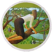 Round Beach Towel featuring the painting Little Bird by Glenn Quist