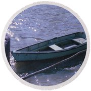 Little Blue Boat Round Beach Towel