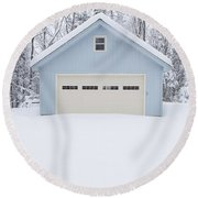 Little Blue Garage In A Snow Storm Round Beach Towel