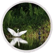 Little Blue Heron Non-impressed Round Beach Towel