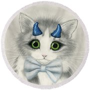 Round Beach Towel featuring the drawing Little Blue Horns - Devil Kitten by Carrie Hawks