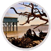 Little Blue Hunting Island State Park Beaufort Sc Round Beach Towel