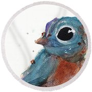Round Beach Towel featuring the painting Little Bluebird by Dawn Derman
