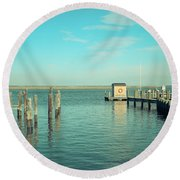 Round Beach Towel featuring the photograph Little Boat House On The River by Colleen Kammerer