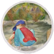 Little Boy At Japanese Garden Round Beach Towel