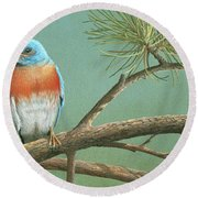 Round Beach Towel featuring the painting Little Boy Blue by Mike Brown