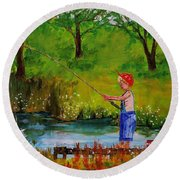 Little Boy Fishing Round Beach Towel by Mike Caitham