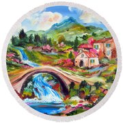 Little Bridge And Country Farm Round Beach Towel
