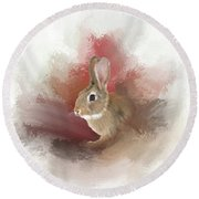 Round Beach Towel featuring the photograph Little Bunny by Mary Timman