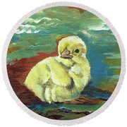 Little Chick - Baby Chicken Round Beach Towel by Jan Dappen