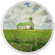 Round Beach Towel featuring the photograph Little Church On Hill Of Wildflowers by Robert Frederick