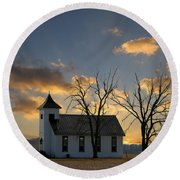 Little Church On The Prairie Round Beach Towel