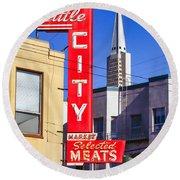 Little City Market North Beach San Francisco Round Beach Towel