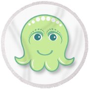 Little Cute Green Octopus Round Beach Towel