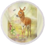 Little Donkey Round Beach Towel