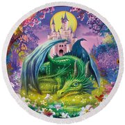 Little Dragon Round Beach Towel