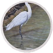 Round Beach Towel featuring the painting Little Egret by Alan M Hunt