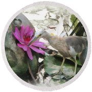 Round Beach Towel featuring the painting Little Egret by Sergey Lukashin