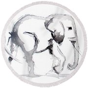 Little Elephant Family Round Beach Towel