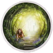 Little Fairy In The Woods Round Beach Towel