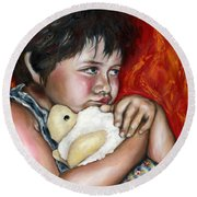 Round Beach Towel featuring the painting Little Fighter by Hiroko Sakai