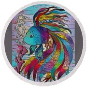 Little Fish 3 Round Beach Towel
