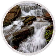 Round Beach Towel featuring the photograph Little Four Mile Run Falls by Suzanne Stout