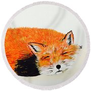 Little Fox Round Beach Towel