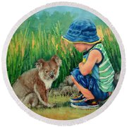 Round Beach Towel featuring the painting Little Friends by Margaret Stockdale