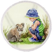 Round Beach Towel featuring the painting Little Friends Watercolor by Margaret Stockdale