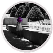 Little Girl In Magenta Hat Black And White Selective Color Round Beach Towel