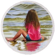 Little Girl In The Sand Round Beach Towel