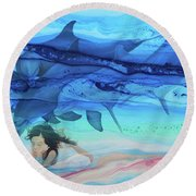 Little Girl Painter Round Beach Towel