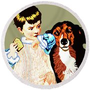 Little Girl With Hungry Mutt Round Beach Towel