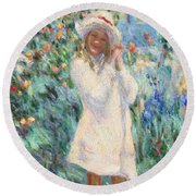 Little Girl With Roses / Detail Round Beach Towel
