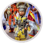 Little Grass Dancer Round Beach Towel by Clarice Lakota