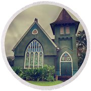 Little Green Church Round Beach Towel