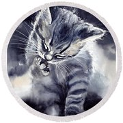 Little Grey Cat Round Beach Towel